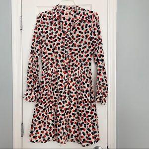 Hutch navy and red dot silk shirt dress